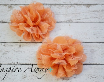 2 Large Lace mesh flowers- Peach fabric flowers, shabby chic flower, flower applique, headband supply, wholesale flowers