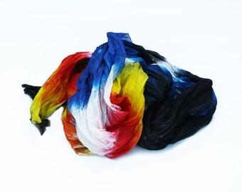 black silk scarf -  Art Tribute - black, red, white, blue, yellow silk scarf.