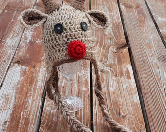 Boy Red Nosed Reindeer hat - Made to Order- Any Size