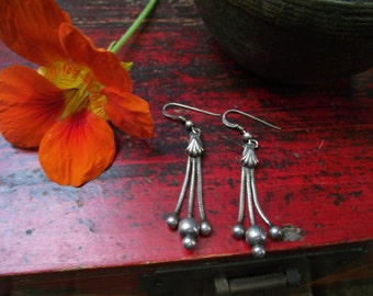 Tribal Dangle Earrings. Sterling Silver Earrings. Ethnic & Tribal Accessories.
