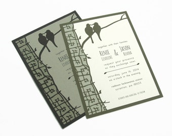 NEW! Papercut Wedding Invitations - True Love Birds / Tree - Eco-conscious - SAMPLE