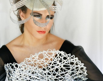 Metal, filigree,BOW,DERBY,Fascinator,headpiece,halo,hat,High fashion,headpiece,headdress,