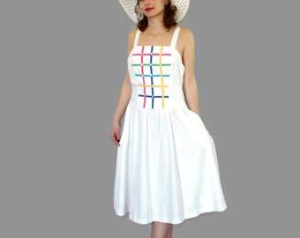 70s white sundress by Jenni. Vintage summer cotton blend dress. Mad Men fashion. Rainbow colors. Swing dress. Picnic dress.