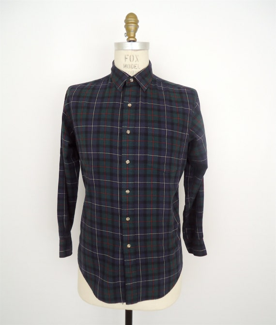 Abercrombie fitch plaid flannel shirt green blue by for Black watch plaid flannel shirt