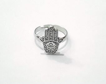 Adjustable hamsa ring