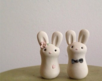 READY to SHIP Cuddle Bunnies Wedding Cake Topper Handmade