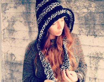 Hand Knit Elf Hat,Striped Hat, Pixie Hat,Warm winter hat, Hobbit Hat,Snowboard Hat,Ski Hat,Hippie Hat