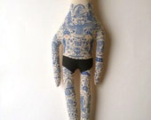 Large Vintage inspired Handmade Art Doll - Sailor with Mustache and Navy Blue Tattoos OOAK - made to order