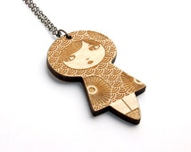 Doll pendant with traditional Japanese pattern seikaiha and stylized flowers - matriochka - kokeshi - lasercut maple wood - graphic jewelry
