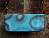 Fold-over blue clutch bag, One of a kind unique blue, brown, circle clutch bag, fold over purse, fold over bag