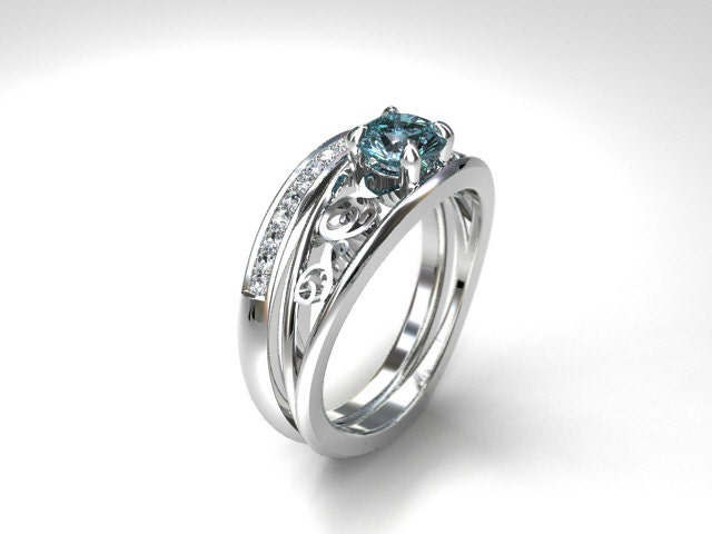 Engagement Ring Set Aquamarine Ring Diamond Wedding