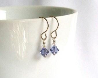 Swarovski Light Purple Drop Earrings, Mothers Day Gift under 20
