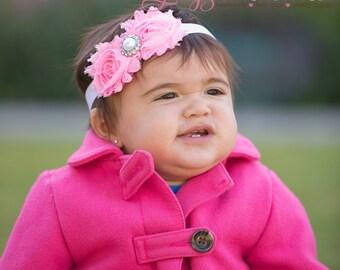 Pink Flower Headband. Newborn Headband.  Baby Headband. Infant Headband. Toddler Headband. Girls Headband.