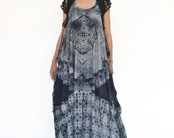 NO.108 Dark Blue, Grey and Ivory Cotton Jersey Low Neck Lace Printed Racerback Sleeveless Dress, Maxi Dress