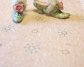 Ready Send Cinderella Pink or French Blue Marie Antoinette Shoes with roses, mohair, antique lace - Jill Dianne Dollhouse Miniature