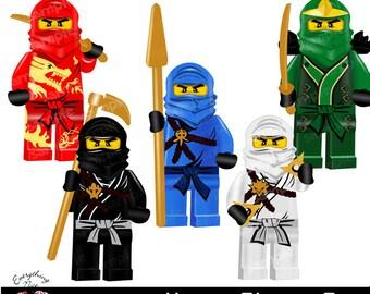 ninjas clipart set