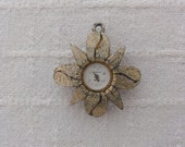 1960's Bercona Pendant Watch, Swiss Made, Sunflower Shaped Case, Gold Tone, Works, Women's Vintage Watch #417