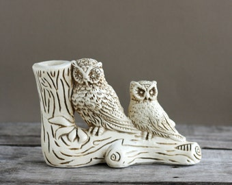 Owls on a Log Figurine or Statue