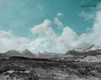 Large Wall Art, Mountain Photography, Landscape Print, Blue Wall Art, Scotland Art, Oversized Art, Turquoise Abstract, Black White, Blue Art