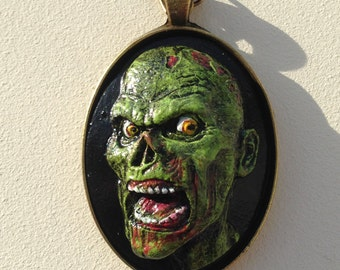 Green and Black Polymer Clay Zombie Cameo Pendant Necklace