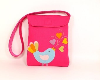 Appliqued Kids Bag -- Organic Messenger Bag for Girl -- Pink Tote with Birdy Applique -- For Holding Small Toys & Crayons