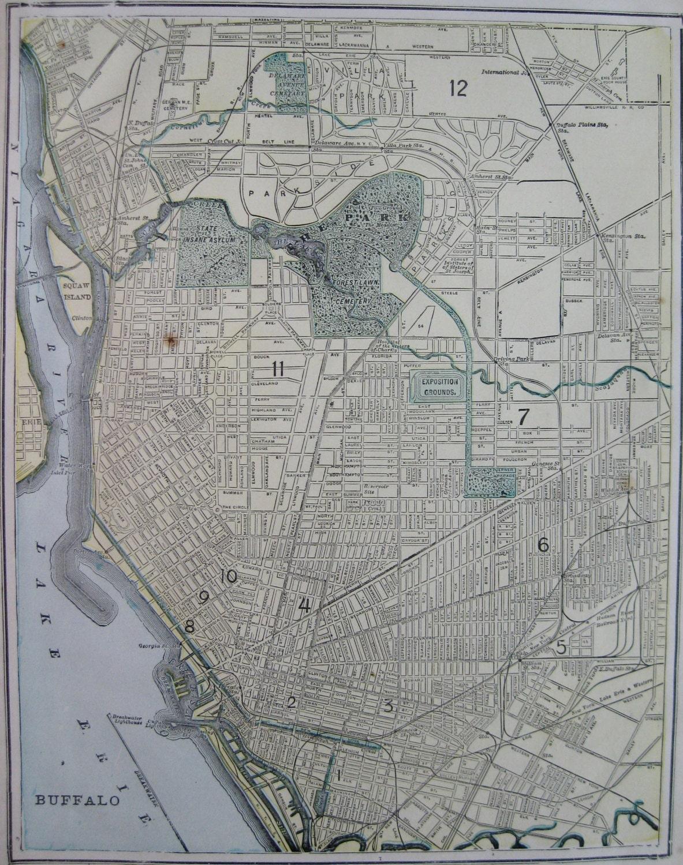 Antique BUFFALO Map Of Buffalo New York 1900 Vintage City Map