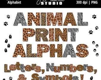 Digital Alphabet Letters Clipart-Animal Print-Zoo Party-Numbers-Alphas-Scrapbooking-Greeting Cards-Invitations-Instant Download Clip Art