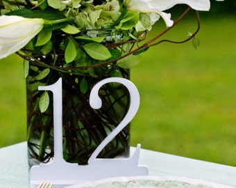 White Wedding Table Numbers, White Wooden Table Numbers, Wedding Table Number