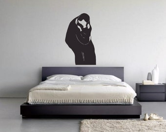 Wall Art inspired by The Kiss by Edvard Munch -  vinyl wall decal for your nursery, bed room or living room minimalistic decor (ID: 111025)