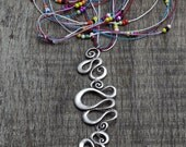 Long Necklace,colorful beaded necklace silver-plated, Bohemian Jewelry -Tribal jewelry amulet evil eye - Long Necklaces,