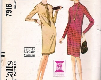 """Vintage 1965 McCall's 7916 Slim Three Panel Dress Sewing Pattern Size 10 Bust 31"""""""