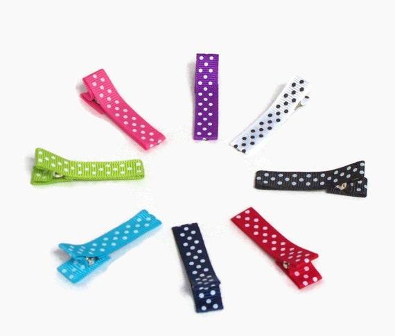 Hair Clip- Set of 8 Polka Dot Rainbow Hair Clips- No Slip Grip Hair Clips