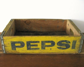 Vintage Pepsi Crate, Wood Crate with Metal Brackets, Yellow Pepsi Crate with Blue Lettering, Zanesville, Ohio