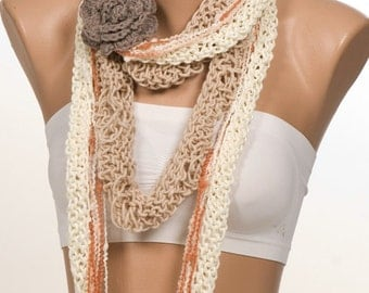 Lariat scarf. Soft color Beige and Cream and Brown and Mink. Four-piece scarf. Spring scarf. Mothers Day.