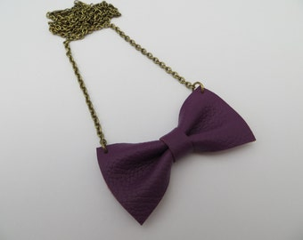 SALE Handmade Purple Leather Bow Tie Necklace