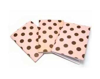 Mini Notebooks, Pocket Notebook, Soft Cover Notebook, Field Journal, Polka Dot Notebook, Mini Journal, Shabby Notebook, Jotter, 4x3