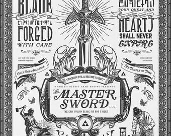 Legend of Zelda Master Sword Advertisement Vintage Poster Museum Quality Giclèe Art Print 16 x 20