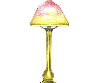 """Lamp art print of an original drawing available 5x7"""" or 8x10"""""""