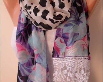 Chiffon Leopard and Floral Scarf with White Lace Edge