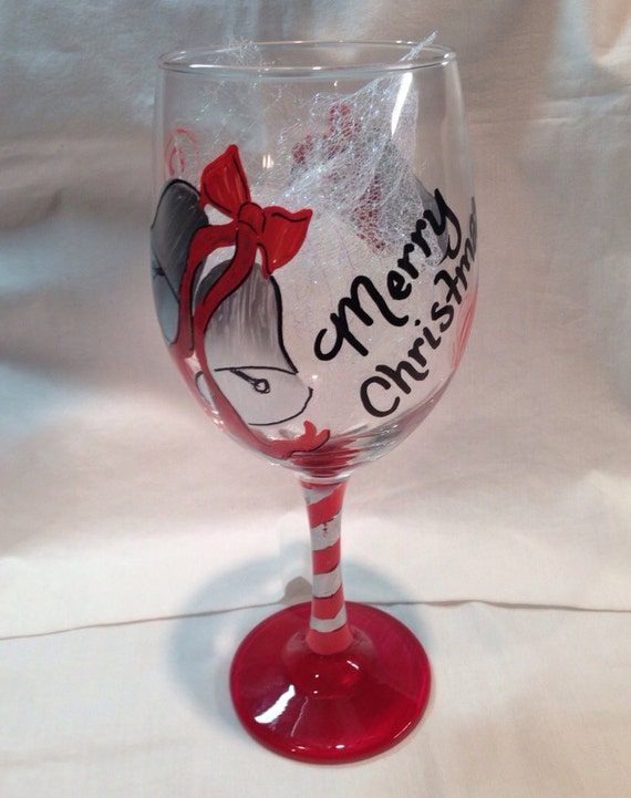 Merry Christmas Wine Glass Hand Painted with Silver Bells and