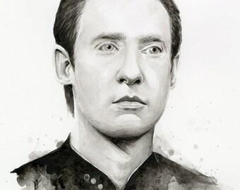 Data Portrait, Star Trek Art Watercolor Painting, Star Trek Art, Star Trek Data, Giclee Print Sci Fi Art Illustration Decor
