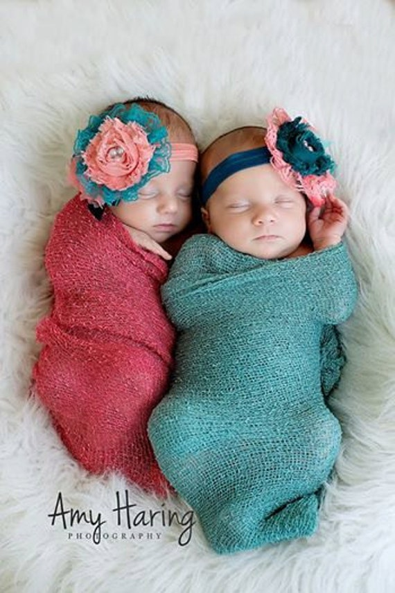 Items Similar To Light Coral Amp Teal Lace Headbands