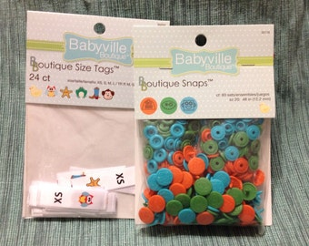 Babyville Boutique snaps for cloth diapers DIY - orange, green and blue - free size tags included