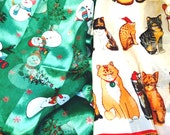 Vintage Holiday Dress Scarves 2 Styles Snowmen or Christmas Cats