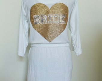 Bride Robe Wedding Gift, Personalized Bridesmaids Gifts for Wedding Party Glitter and rhinestone Custom Made robe