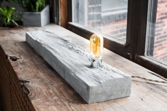 hnliche artikel wie pilz holz beton tischleuchte lamp. Black Bedroom Furniture Sets. Home Design Ideas