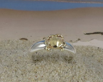 14k Gold and Sterling Silver Stacking Crab Ring