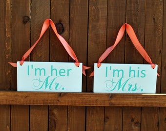 Mint and Coral Wedding Signs, I'm His Mrs. and I'm Her Mr. Double sided Wedding Chair Signs, I Do and Me Too Wedding Chair Hangers