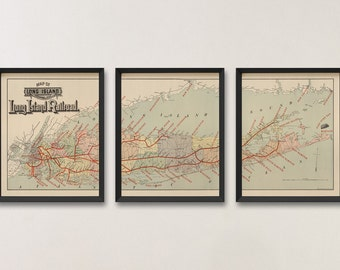 Old Long Island Map Art Print 1895 Antique Map Archival Reproduction - Railroad Map - Set of 3 Prints