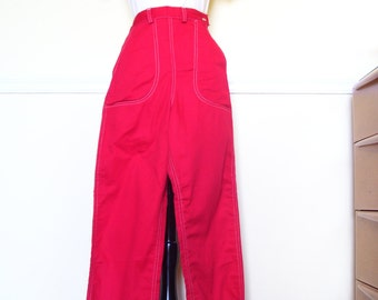 Rockin' Vintage 1940s 40s 1950s 50s Red Denim Jeans Flannel Lined -High Waist-Side Zipper -Deadstock/Nos- Hot Rod Girl-Bad Girl-Cowgirl-